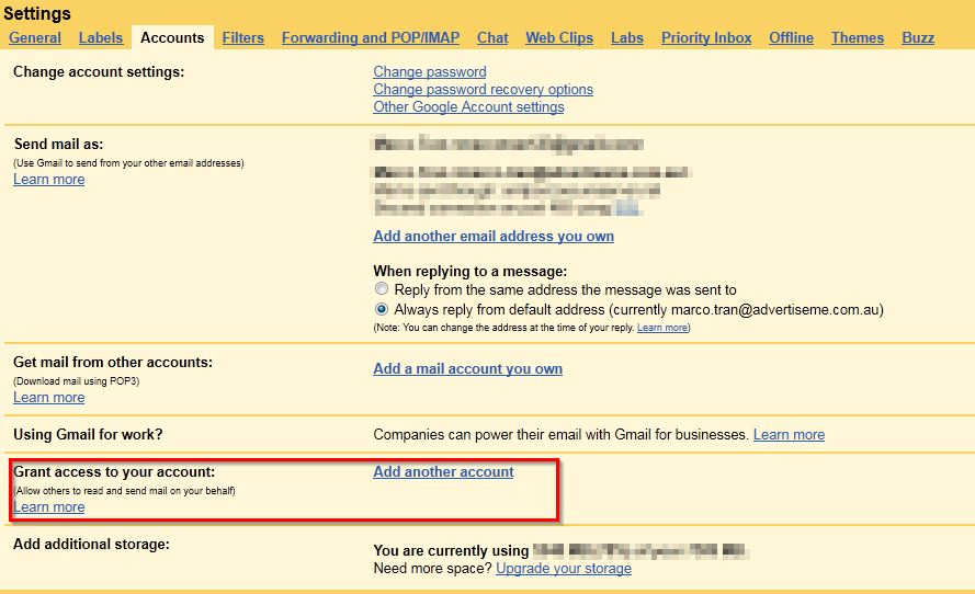 gmail account hacked. Click on the accounts tab and