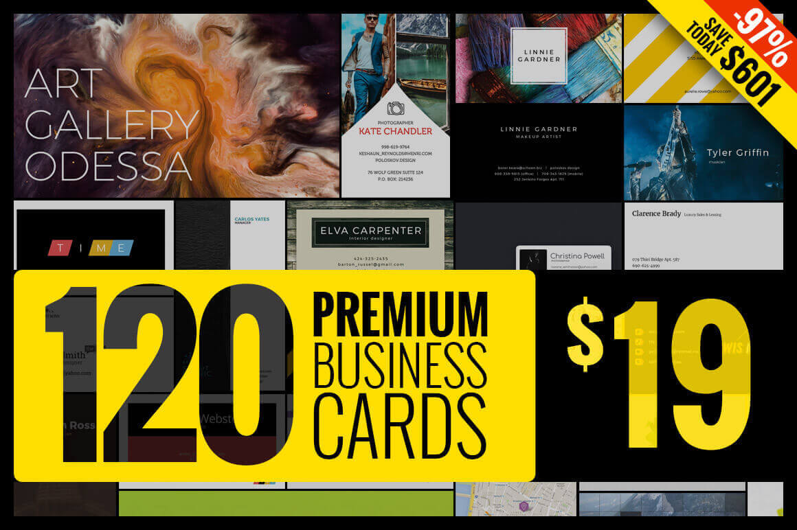 Massive Bundle: 120 Premium Business Card Templates – only $19!