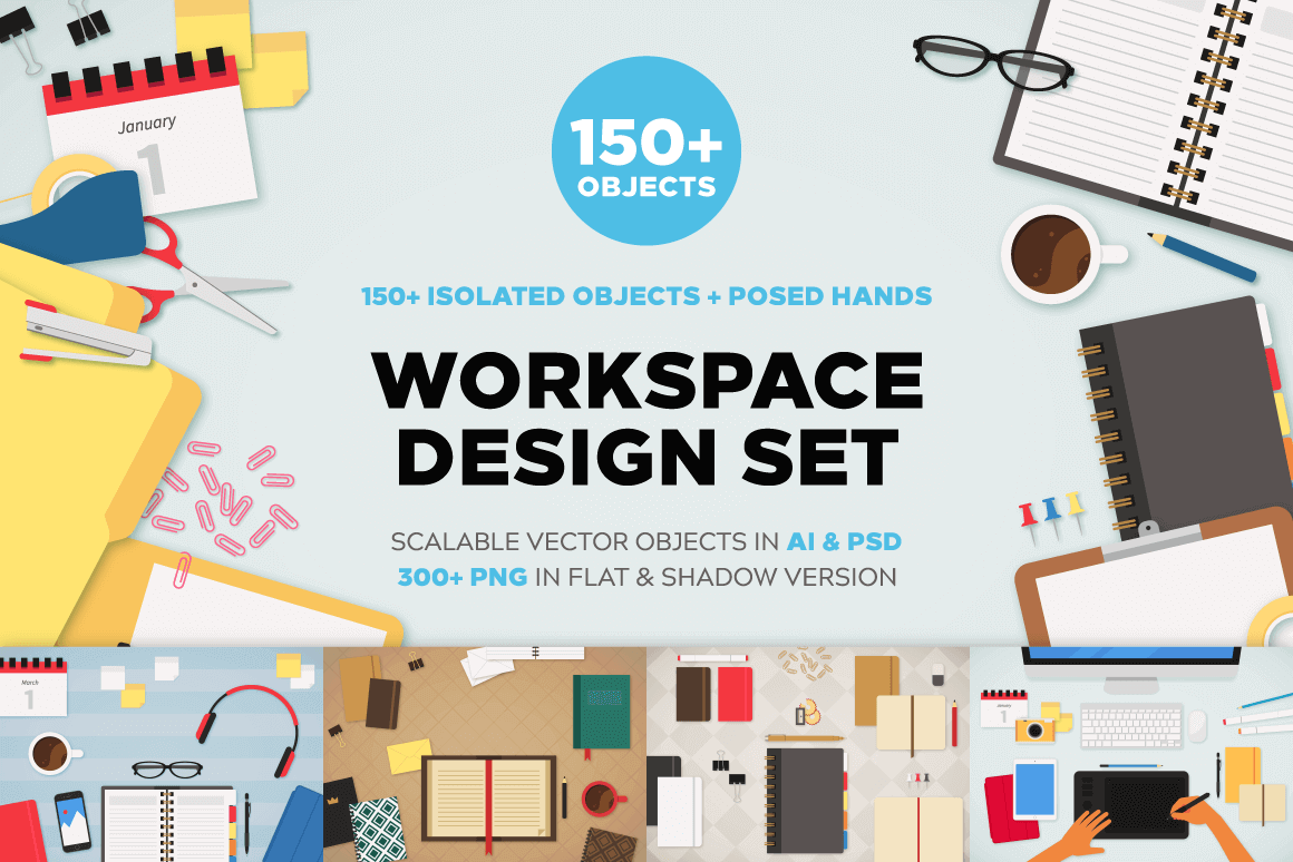 The Workspace Mockup Bundle with 150+ Unique Objects – only $9!