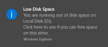 how to fix low disk space windows 10
