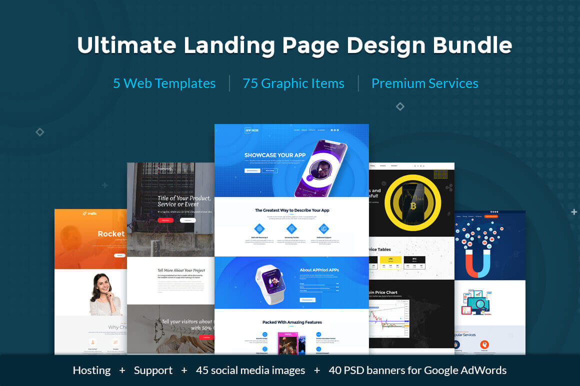 Simple Landing Page Web Design Bundle from MotoCMS – only $19!