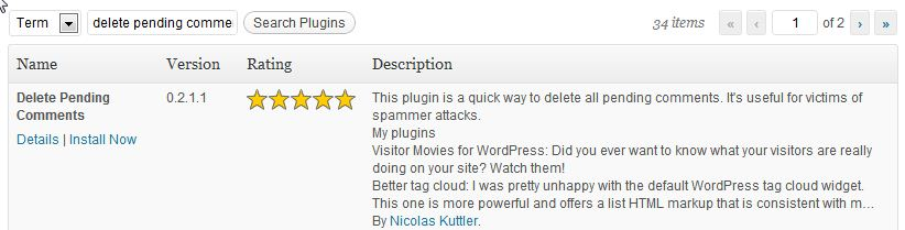 How do you delete all the pending comments in WordPress