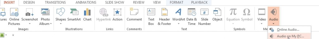 powerpoint 2013 add audio as background