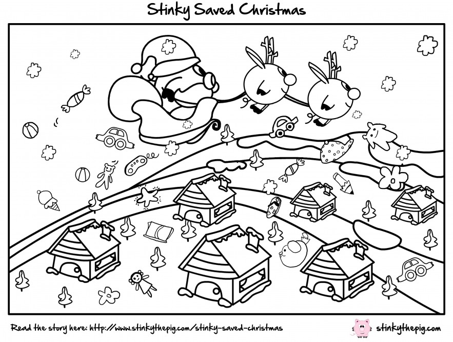 Stinky The Pig - Stinky Saved Christmas Colour Me In