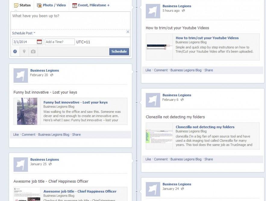 Business Legions Facebook Feed - schedule