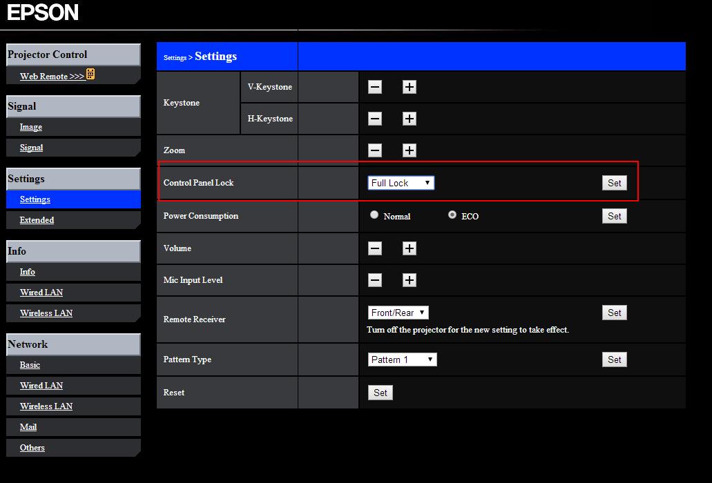epson projector web management lockout