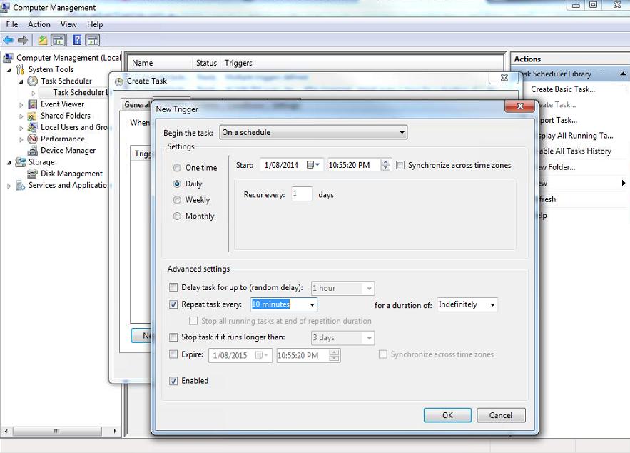how to run php script in windows task scheduler