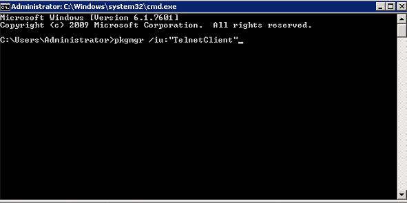 Install Telnet Windows 2008 R2