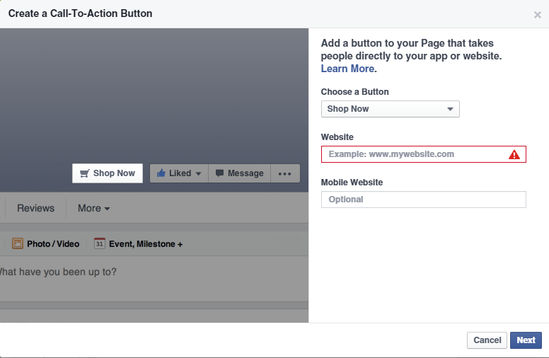 Facebook - Call to action