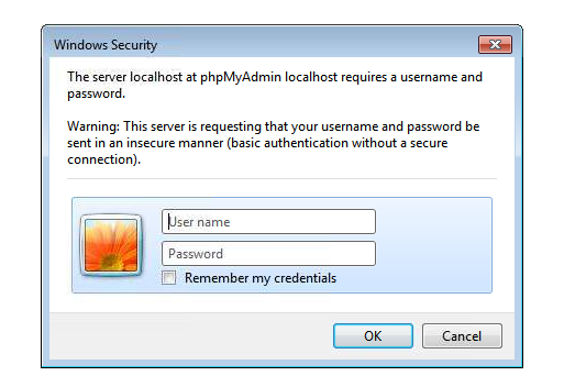 How to setup phpMyAdmin to prompt for login and password