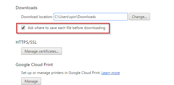 Chrome Ask where to save each file before download