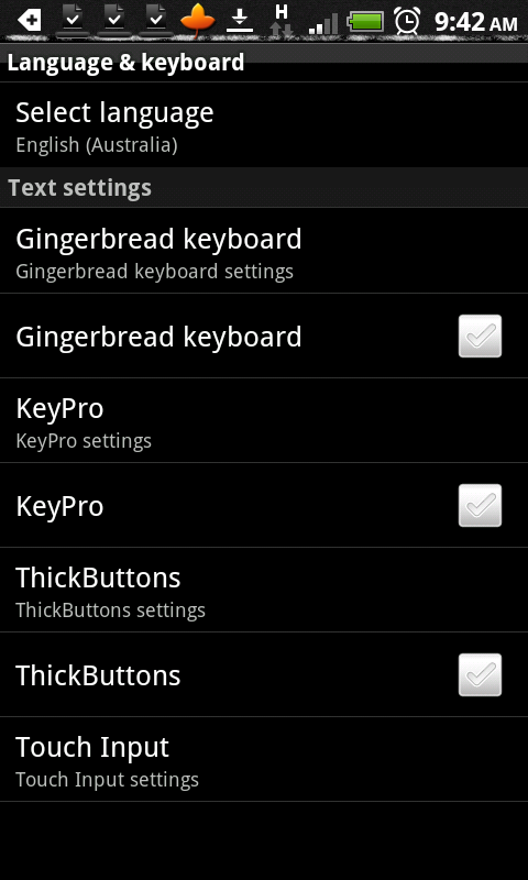 Issues with gingerbread keyboard on HTC Desire HD