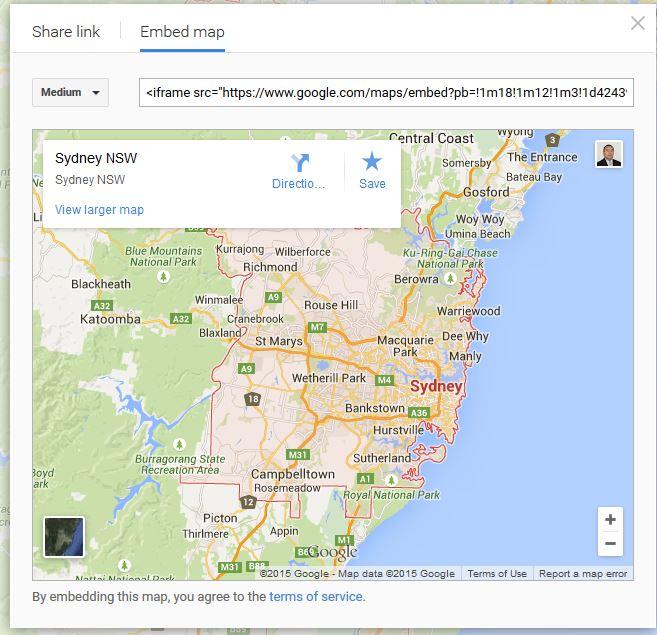 Google Maps Sydney Embed