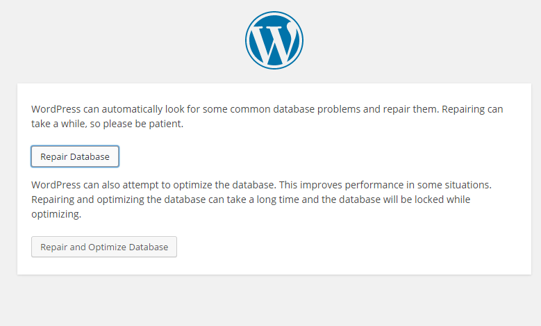 WordPress Repair Database Screen