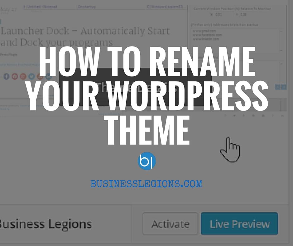 How To Rename Your WordPress Theme