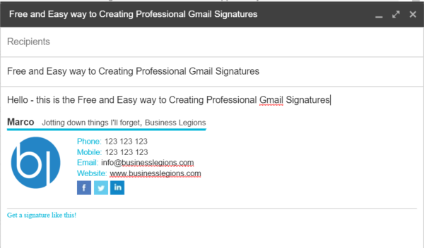free and easy way to create professional gmail signatures