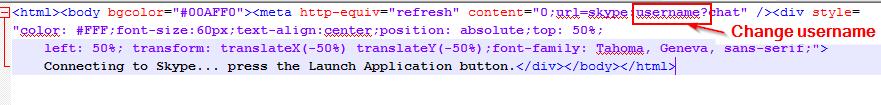 Skype HTML content change username