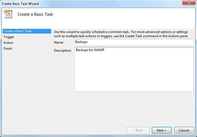 WAMP Backup Scheduled Tasks Description