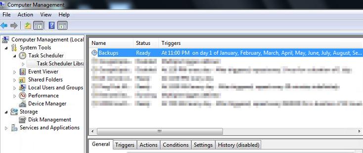 WAMP Backup Scheduled Tasks Listed