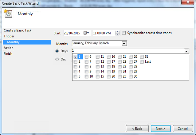 WAMP Backup Scheduled Tasks Task Trigger Monthly Days
