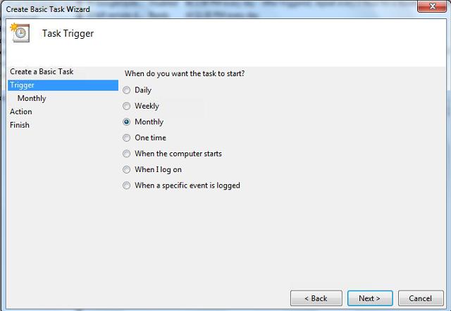 WAMP Backup Scheduled Tasks Task Trigger