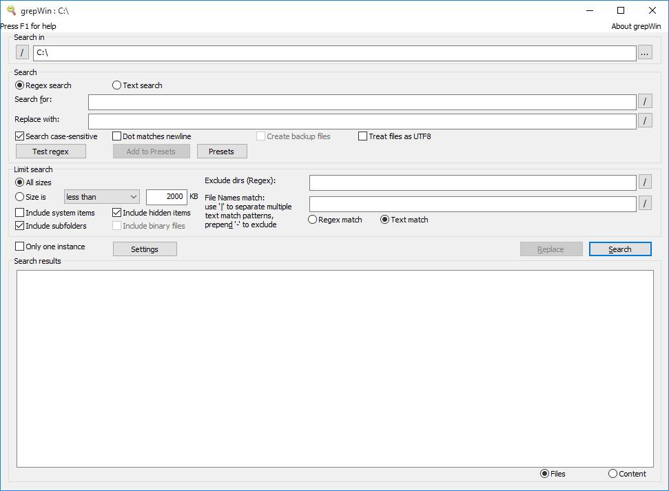 grepWin Screen setting