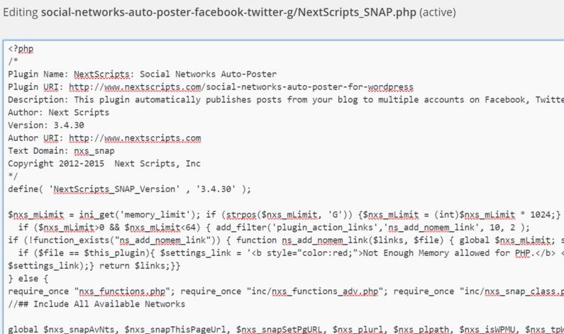 WordPress Nextscript SNAP Fix