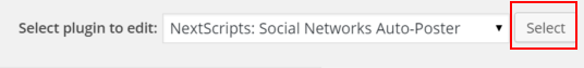 WordPress Nextscript SNAP Plugins Editor Select button