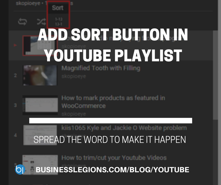 ADD SORT BUTTON IN YOUTUBE PLAYLIST