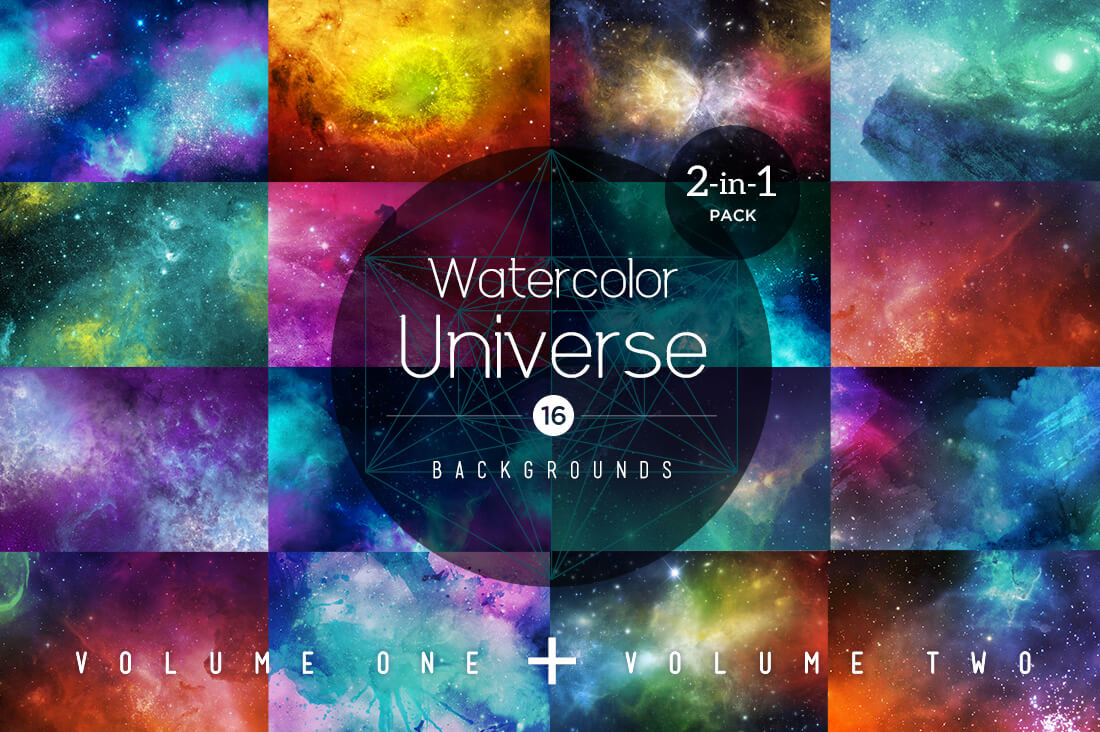16 Breathtakingly Unique Watercolor Universe Backgrounds – only $9!