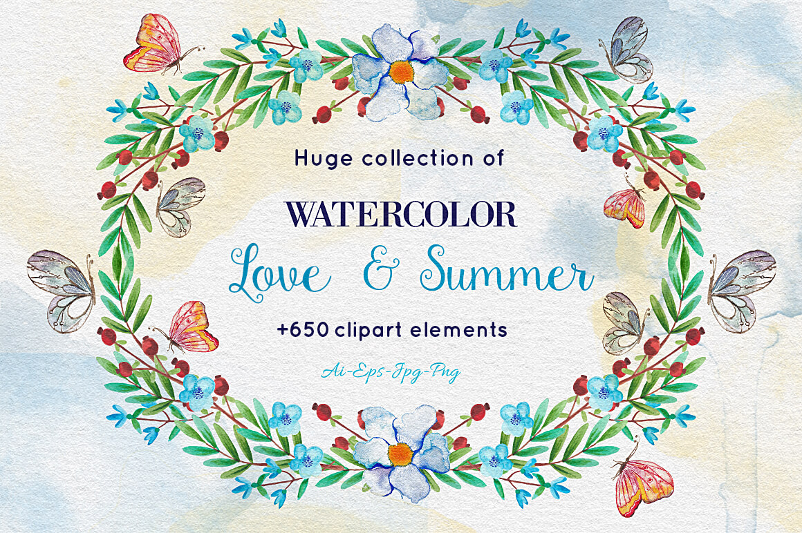 650+ Delightful Watercolor Clip-Art Elements – only $24!