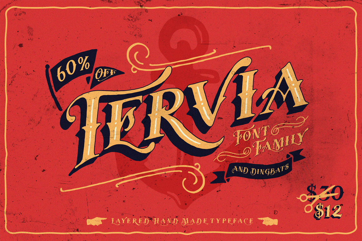 Classic Meets Fun with the Tervia Font Family – only $12!