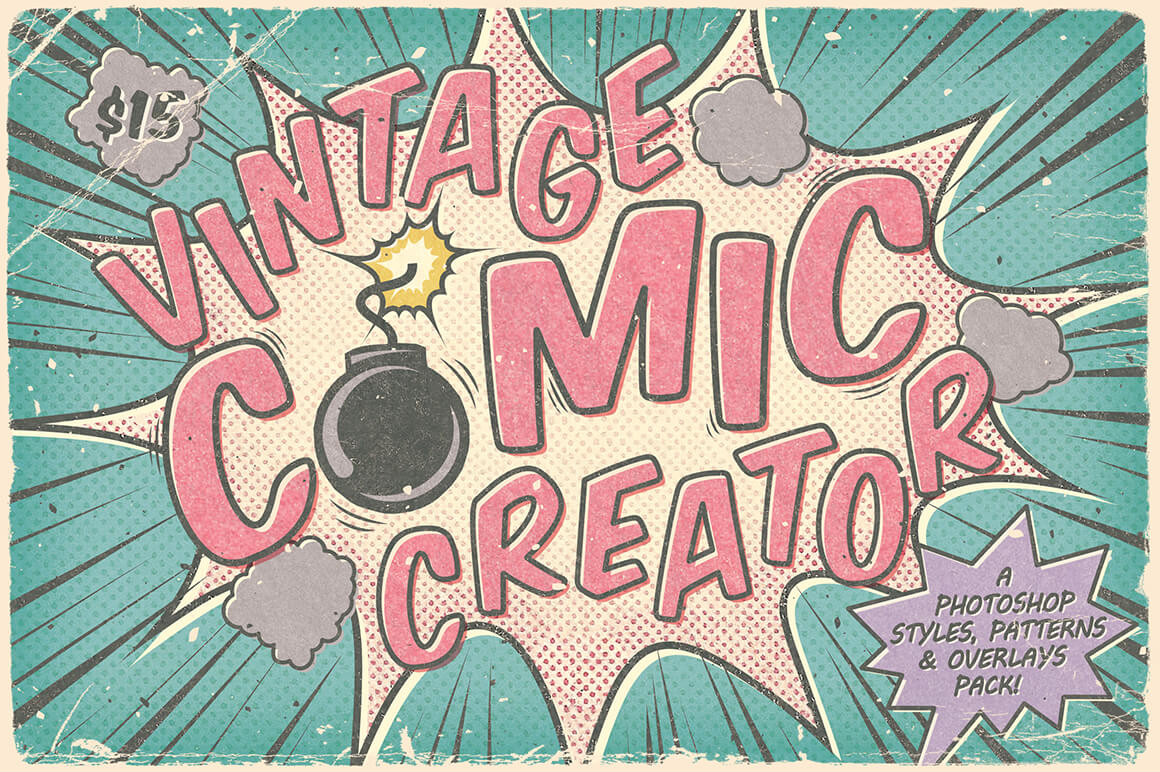 Make Vintage Comics with The Retro Comic Book Tool Kit – only $7!