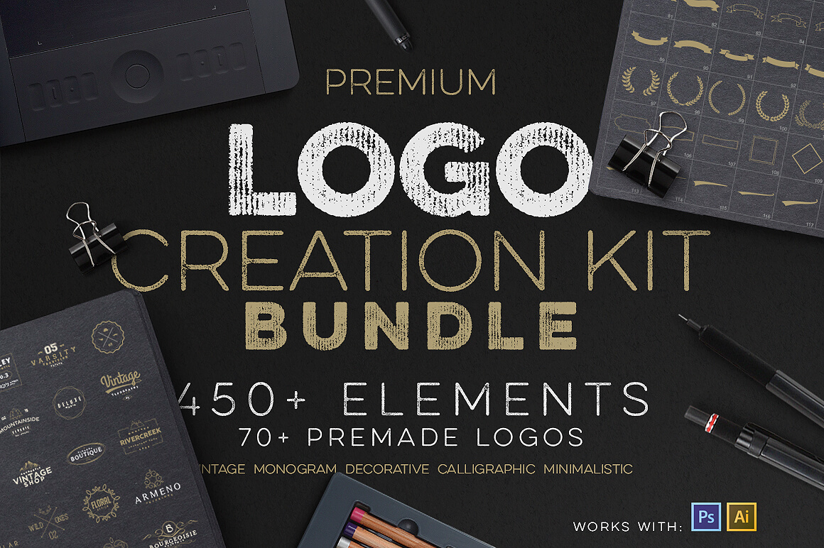 Professional Logo Creation Kit Bundle with 500+ Elements – only 14!