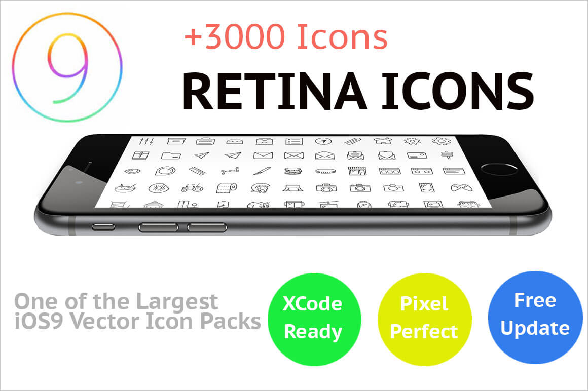iOS Vector Icon Packs: 3000 Pixel-Perfect Retina Icons – only $24!