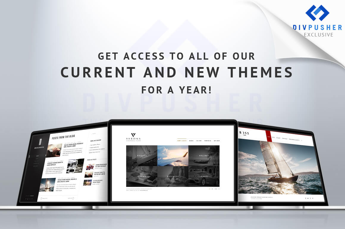 1 Year Access to DivPusher WordPress Theme Club – only $17!
