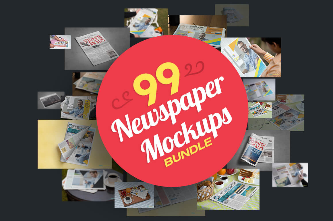 99 Hi-Res, Photo-Realistic Newspaper Mockups – only $16!