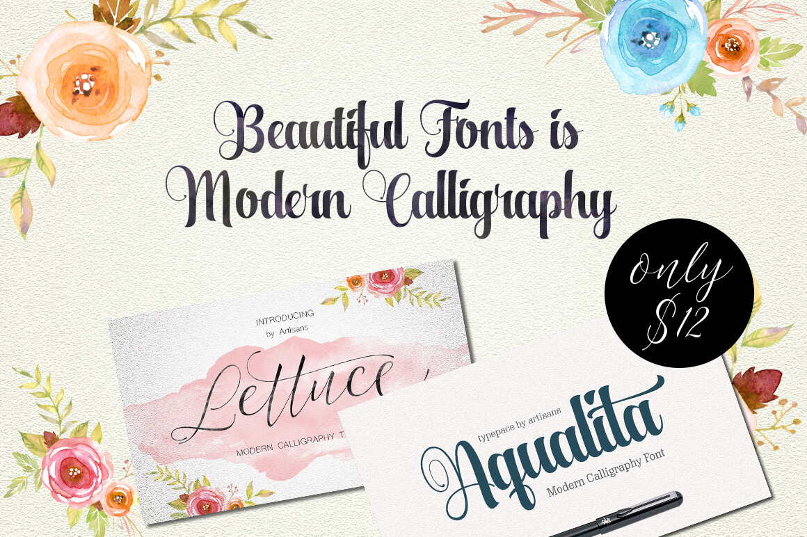 A Perfect Duo of Beautiful Modern Calligraphy Fonts – only $9!
