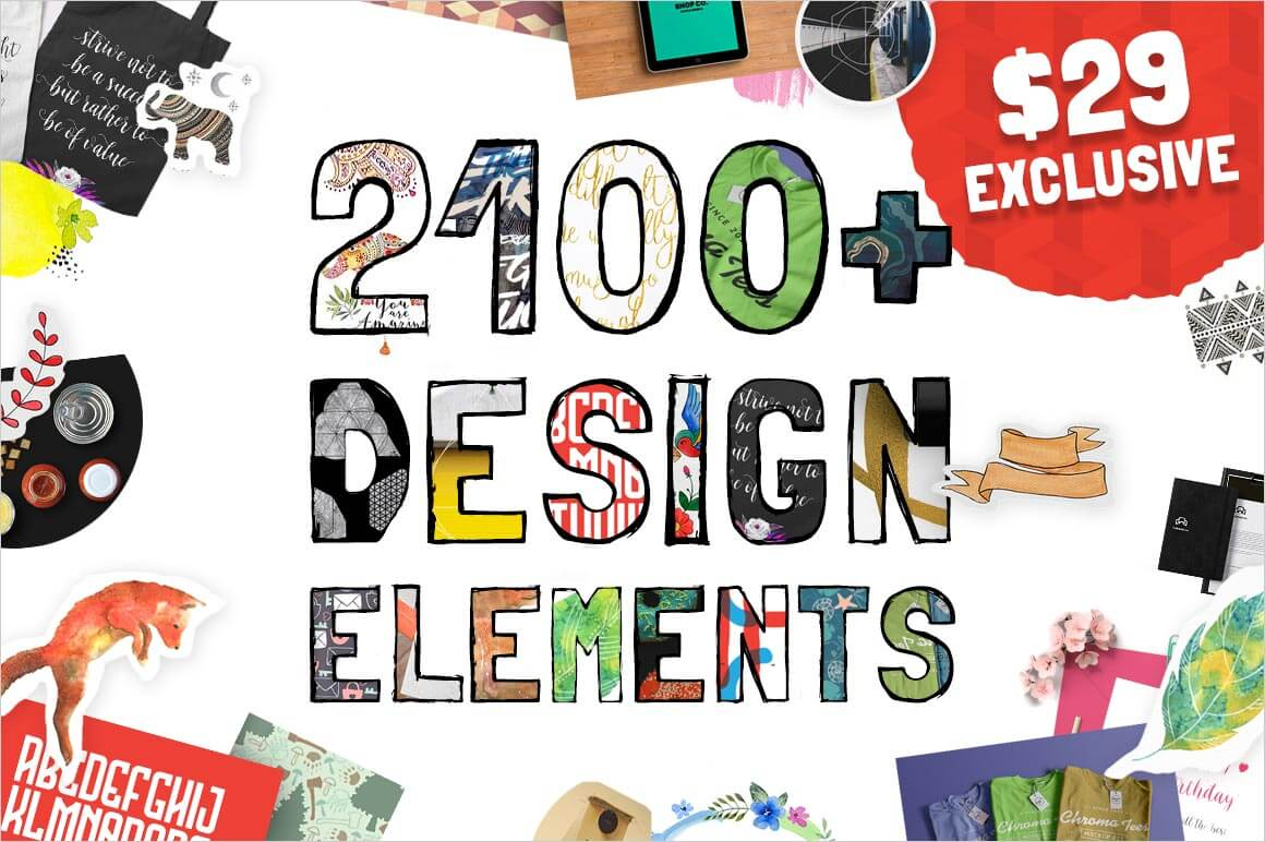 Exclusive HUUUGE Bundle: 2100+ Elements and 11 fonts from 10 Vendors - only $29!