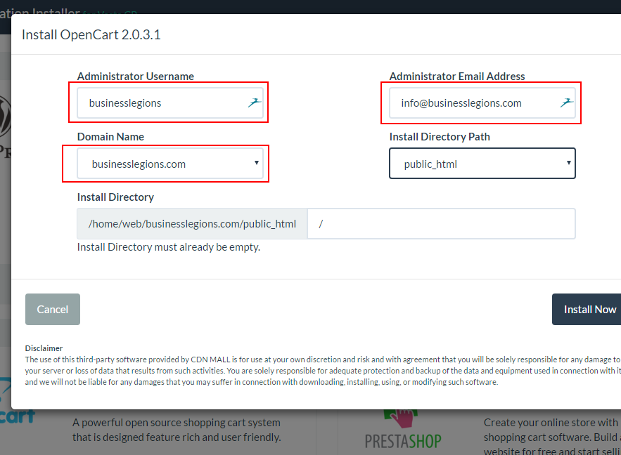 VestaCP App Installer Add Opencart Add Details