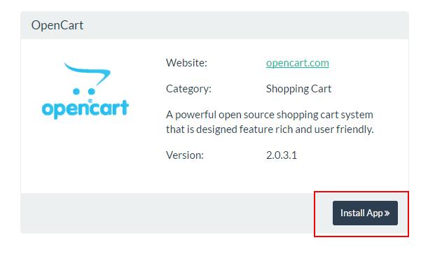 VestaCP App Installer Add Opencart