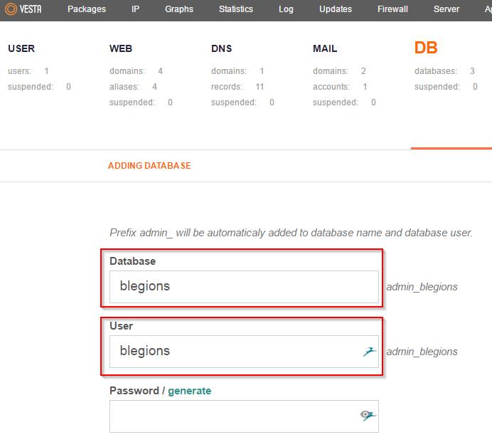 VestaCP App Installer Add Web Database Username