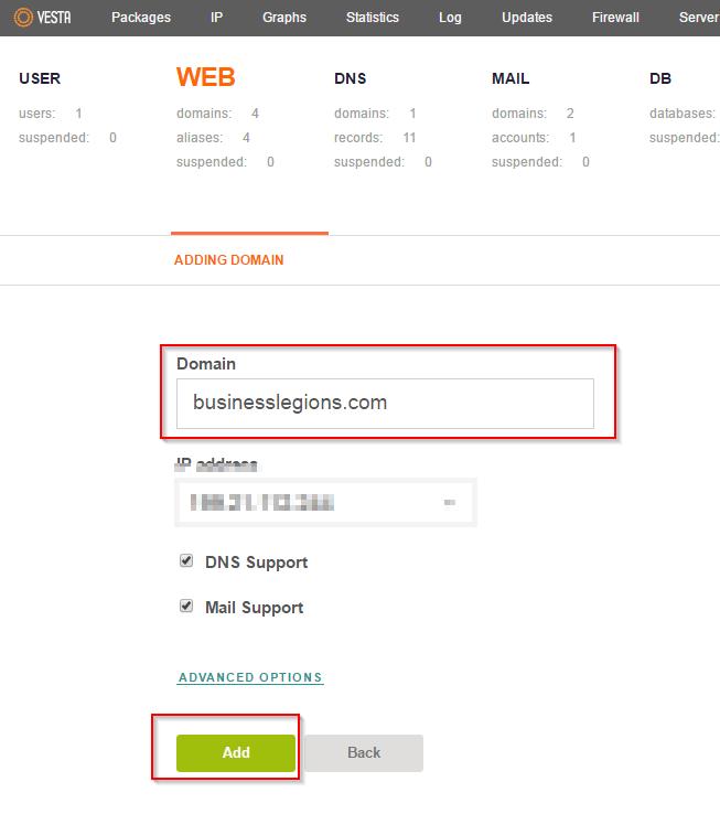 VestaCP App Installer Add Web Domain Example