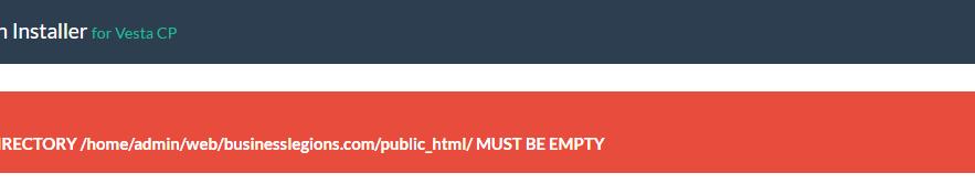 VestaCP App Installer Error Message