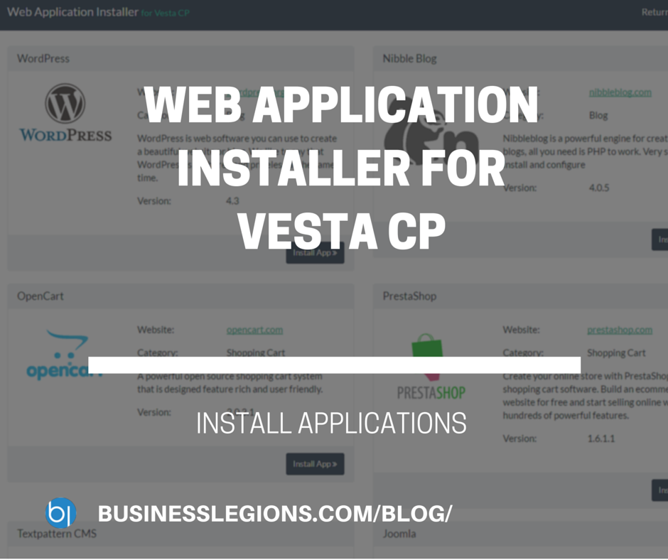 WEB APPLICATION INSTALLER FOR VESTA CP