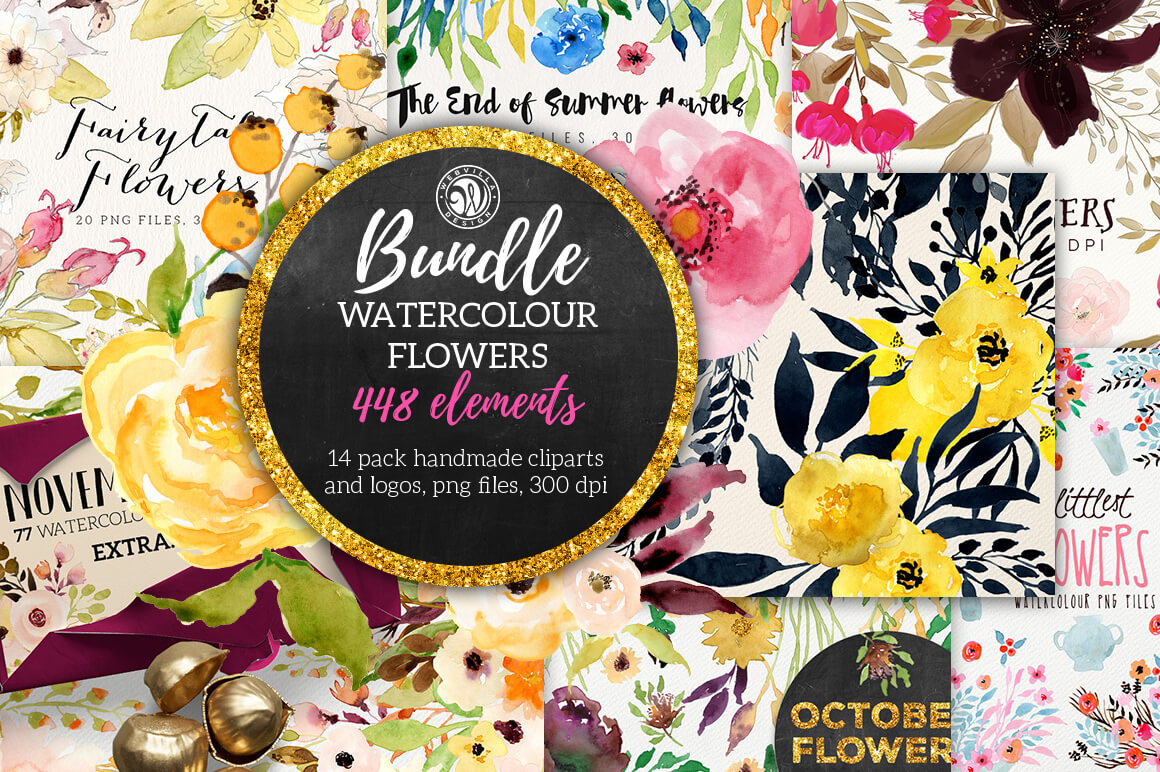 LAST DAY: Watercolor Flowers Bundle of 400+ Elements – only $24!