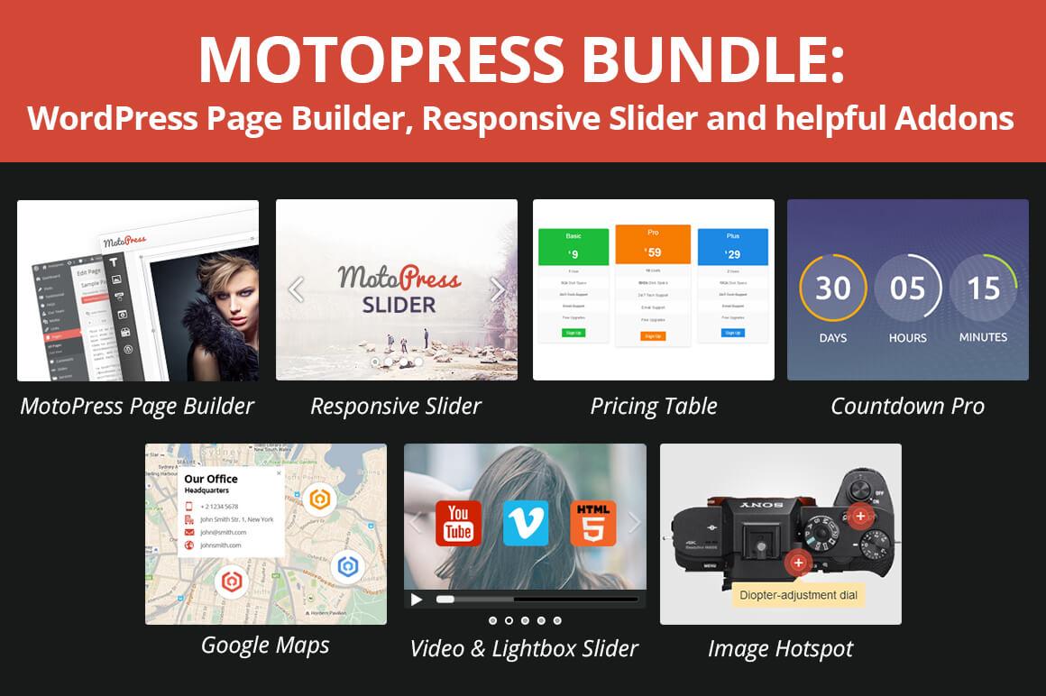 MotoPress Bundle of WordPress Page Builder, Responsive Sliders & More – only $37!