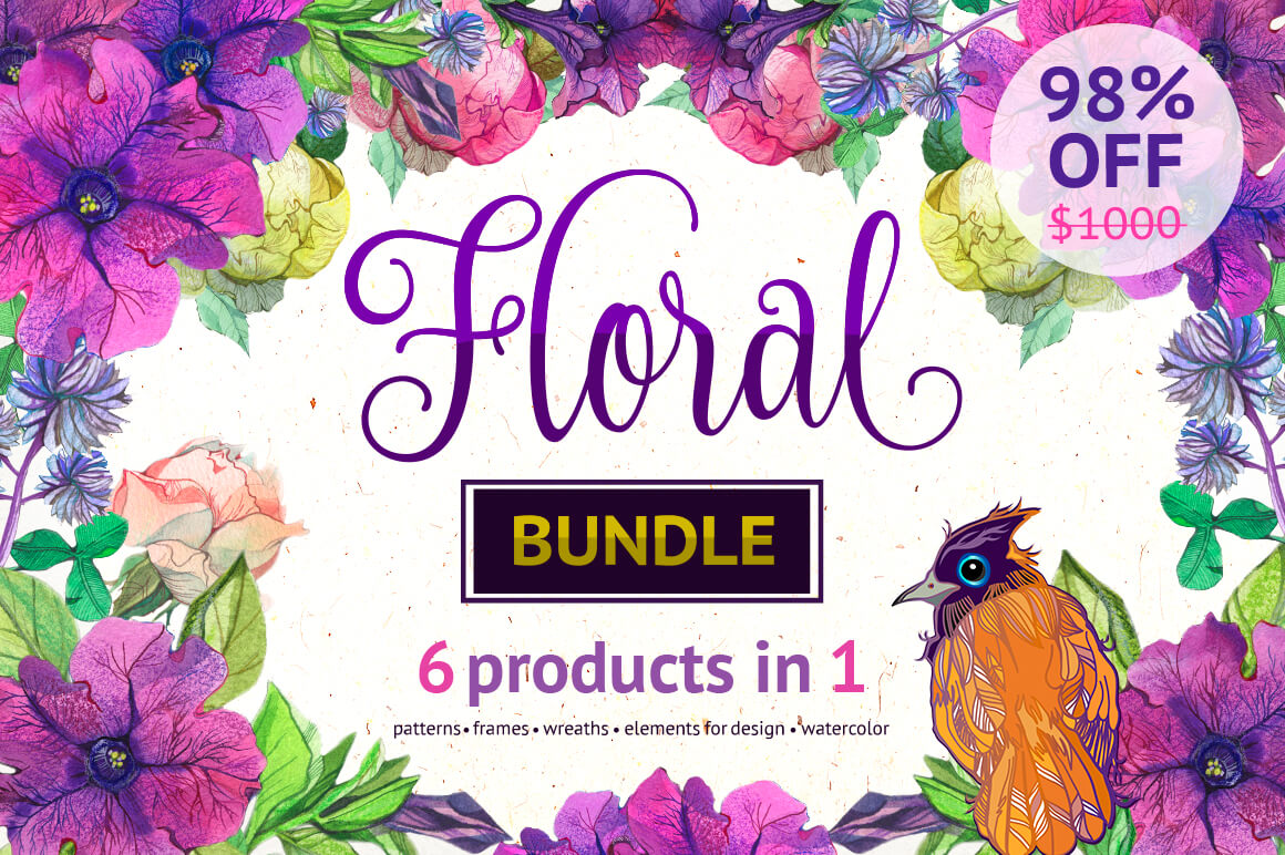 Floral Bundle: 100+ Files Containing Beautiful Patterns and Elements – $24!