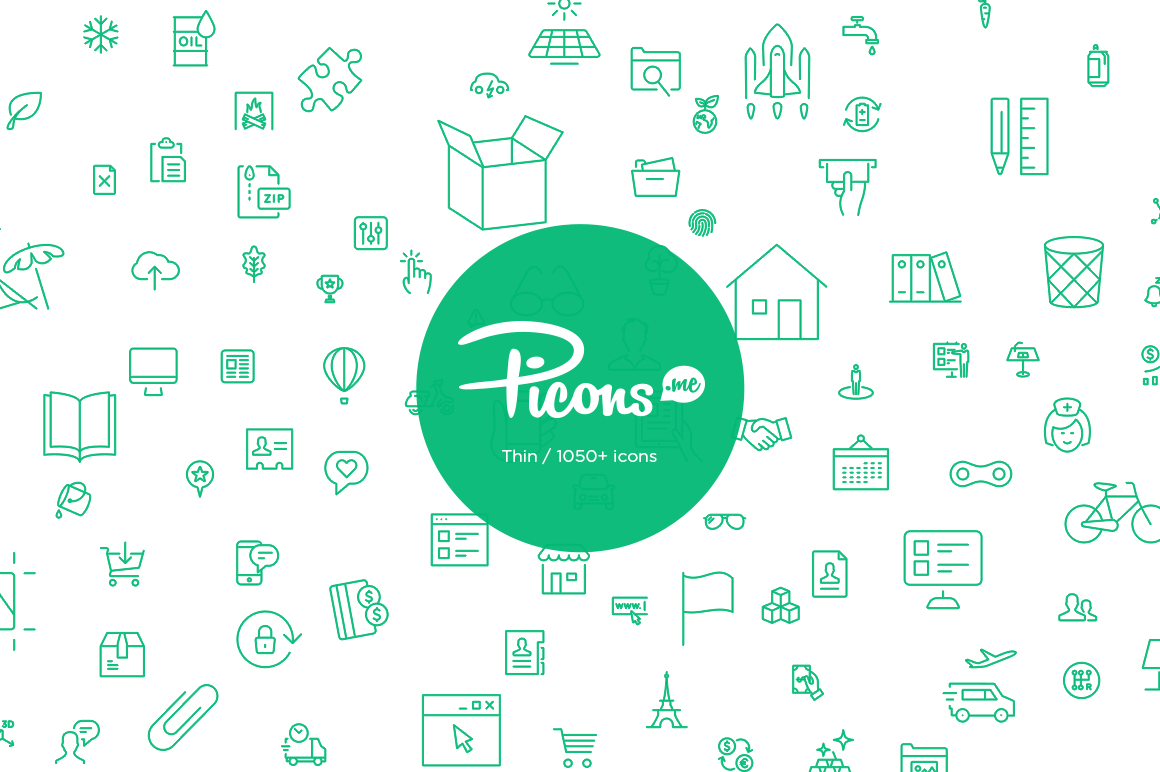 Picons Thin: 1050+ Premium Vector Icons – only $29!