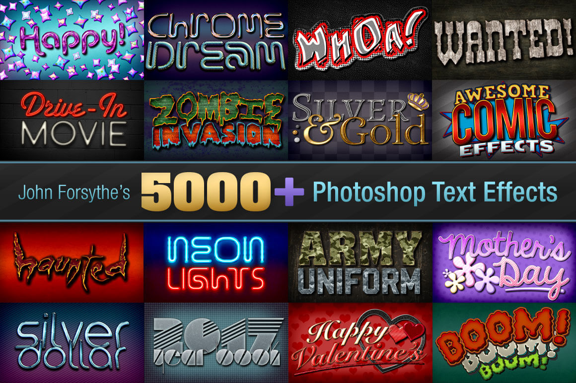 5,000+ Professional Text Effects from John Forsythe – only $29!